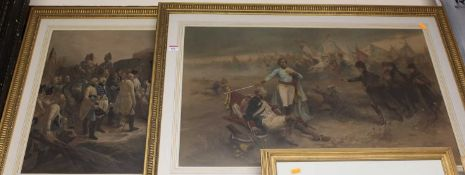 After V. De Faredes - Pair; Napoleonic War scenes, colour lithographs, 49 x 77cm