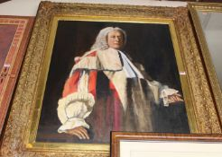 Contemporary school - Three-quarter length portrait of a judge wearing his robes, oil, 92 x 75cm,
