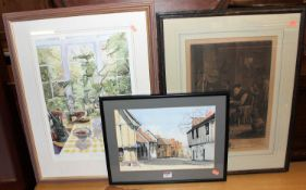 Assorted pictures and prints, to include Andrew Mummery - Water Street, Lavenham, watercolour (5)