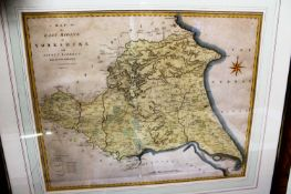 J. Cary - A map of the East Riding of Yorkshire with Ainsty Liberty, later hand-coloured
