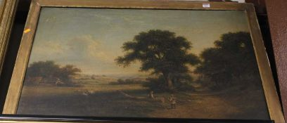 19th century English school - Extensive pastoral landscape scene, oil on canvas (a/f), 60 x 90cm