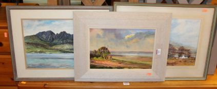 Peter Heath - Marsh Farm, oil on board, signed lower right, 22 x 32cm; R.W. Matthews - Landscape