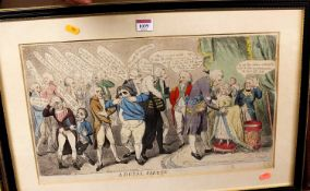 A Royal Salute - a George III satirical print being later hand-coloured, published London 1791 by
