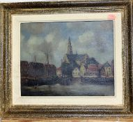 20th century Continental school - Harbour scene, oil on canvas, indistinctly signed lower left, 23 x