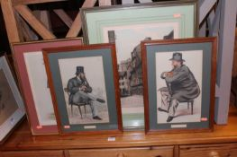 Three various Vanity Fair Spy prints; together with a continental street scene mezzotint; and a