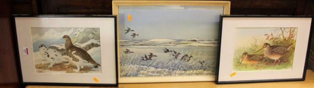 T.W. Tait - Ducks in flight in winter, watercolour, signed lower right, 32 x 44cm; together with a