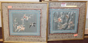A pair of Japanese silkwork panels, 25 x 28cm, in modern glazed frames