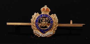 A 9ct gold and enamelled sweetheart brooch for the Royal Engineers, 5cm, boxed.