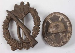 A German Third Reich Infantry Assault badge with pin back and marked FLL for Friedrich Linden,