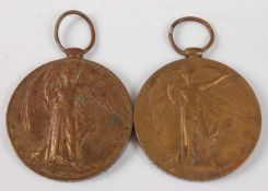 Two WW I Victory medals, naming 30613. PTE. W. BORLEY. W. YORK. R. and 215069. A. M. 2. W.P.