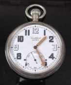A Contebert Extra military issue nickel cased open faced pocket watch, having a white enamel dial