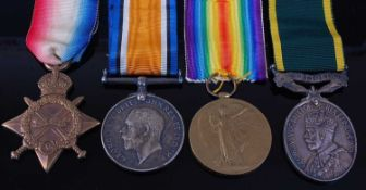 A WW I 1914-15 Star, British War and Victory trio, naming T4 - 127615. PTE. W. WHITEHART. A.S.C.,