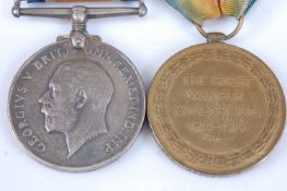 A WW I British War and Victory pair, naming 40268 PTE. G.C. SNEED. ESSEX R. (2) Private George C.