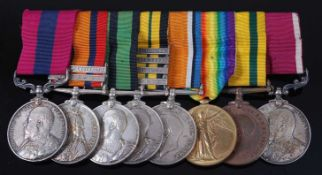 A Boer War / Great War Gallantry group of eight medals to include Distinguished Conduct medal,