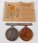 A WW I pair to include British War medal and Mercantile Marine War medal, naming ROBERT A. PURVIS,