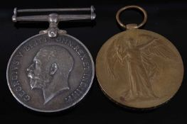 A WW I British War and Victory pair, naming 7254 PTE. A.J. GAGE. 23-LON. R. (2)