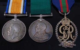 A Naval group of three medals to include British War medal, naming LIEUT. F.G. FIFE. R.N.V.R., a