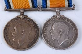 Two WW I British War medals, naming 39774 PTE. E.B. KEMP. 16 - LOND. R. and 15165. CPL. J.R. COLGAN.