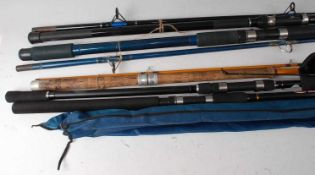"""A collection of assorted fishing rods to include East Anglain Rod Co """"Barford"""" 10' two piece, Fladen"""