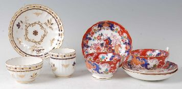 A Worcester porcelain trio, Flight period, comprising coffee cup, tea bowl, and saucer, each