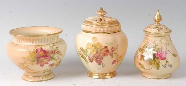 A Royal Worcester blushware pot pourri vase and cover, with inner cover, decorated with