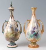 A matched pair of Royal Worcester and Hadley's Worcester twin handled slender neck vases, one with