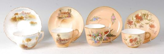 A Royal Worcester porcelain cabinet cup and saucer, decorated by Rushton with an Italianate river