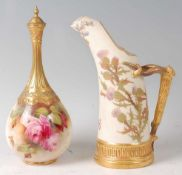 A Royal Worcester porcelain bottle vase and cover, having a fluted slender neck, decorated with pink