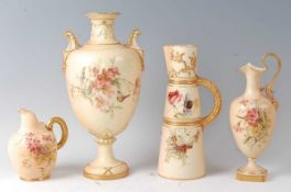 A Royal Worcester blushware pedestal vase, decorated with flowers and insects, heightened in gilt,