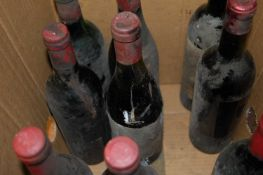 Assorted circa 1960s/70s French Château red wines, the majority lacking labels or with very poor