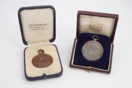 1920s 1st London Regiment Royal Fusiliers silver and bronze competition prize medals, un-engraved