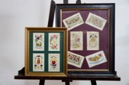 """Two First World War framed displays of silk postcards, including Army Ordinance Corps, """"1918"""