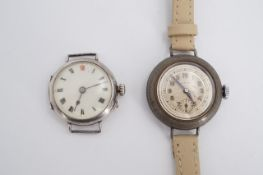 A 1916 silver cased trench watch together with an early 20th Century Laco wristlet watch