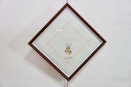 A First World War box framed keepsake or love token, in the form of a silk cushion incorporating a