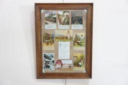 A framed display of ten First World War sentimental postcards, 59 x 44 cm