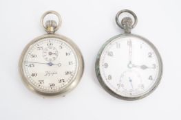 A British military GS Mk II pocket watch together with a Hyspa stopwatch