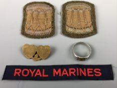 A Royal Artillery Mizpah type sweetheart brooch, a trench art finger ring, two drummers'