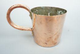 A Victorian Royal Navy copper 1 Pint rum / grog measure, 10.5 cm high
