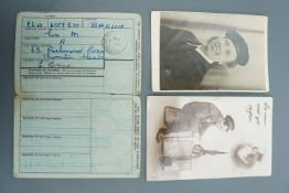 Two military postcards and a National Registration Identity Card, one of the former portraying a