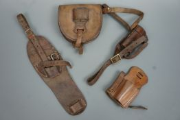 Thee various Great War and Second World War British army cavalry saddlery sword frogs and a