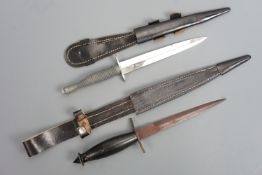 A US military V42 style stiletto and a commercial third pattern FS / Fairbairn Sykes knife