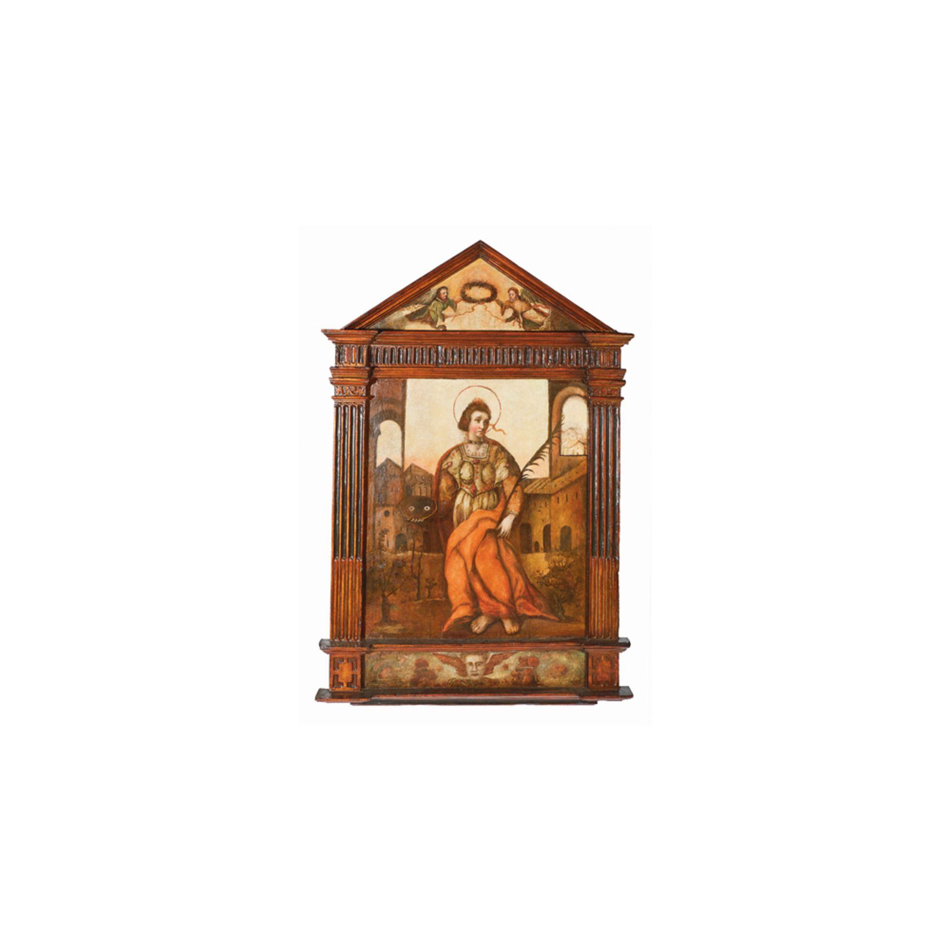 Los 27 - Escuela española, fles. del s.XVI. Santa Lucía. Retablo en madera tallada, policromada y óleo.