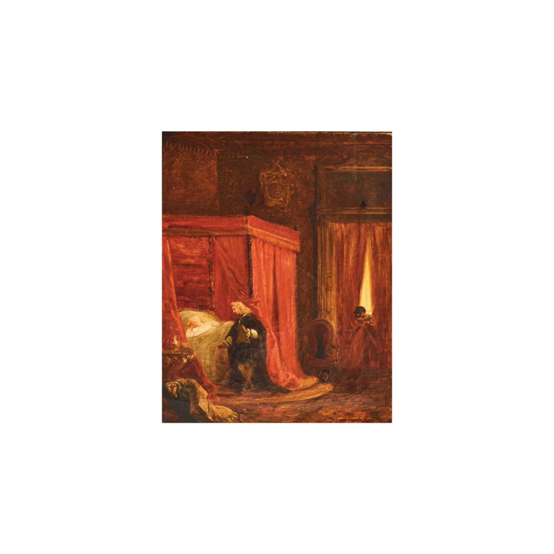 Los 20 - Escuela europea, s.XVIII.Interior de alcoba con figuras. Óleo sobre tela.