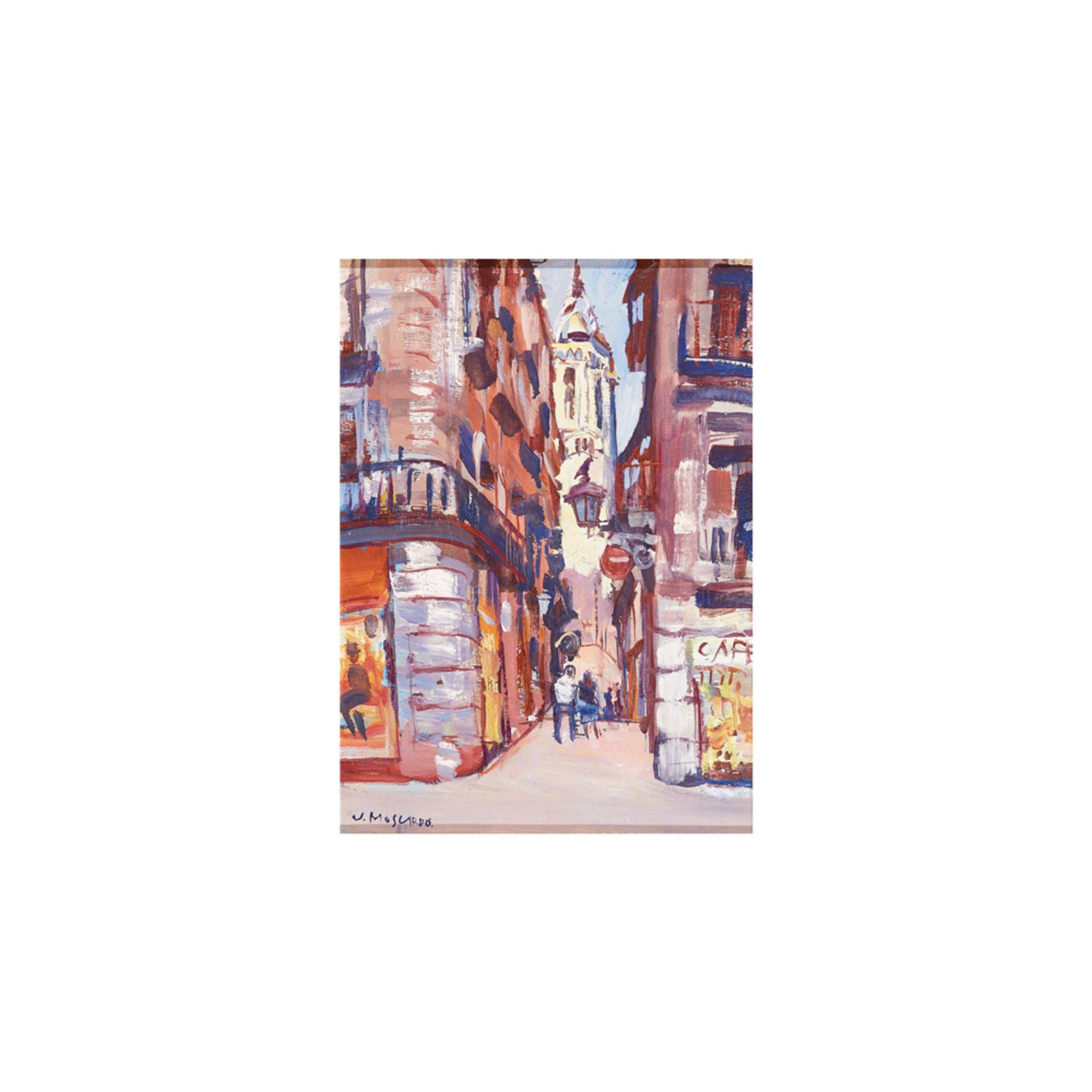 Los 60 - Josep Moscardó. Vista urbana. Barcelona. Óleo sobre tela.