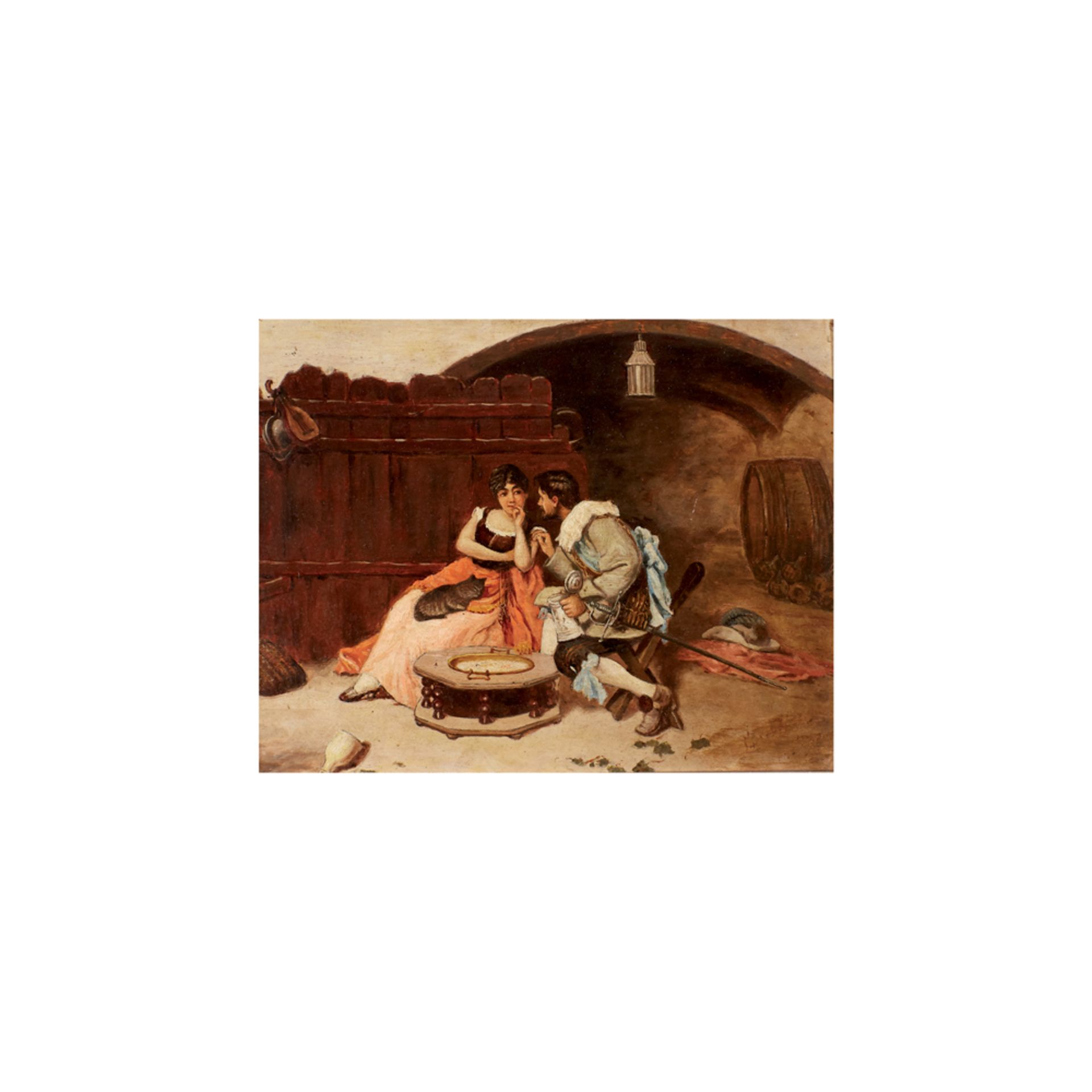 Los 13 - Escuela española, s.XIX. Escena galante. Óleo sobre tabla.