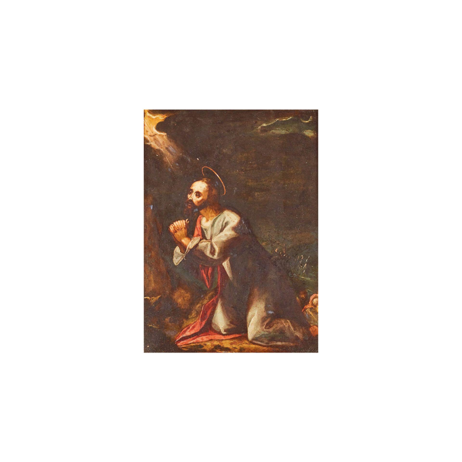 Los 11 - Escuela española, s.XVIII. El arrepentimiento de San Pedro. Óleo sobre cobre.