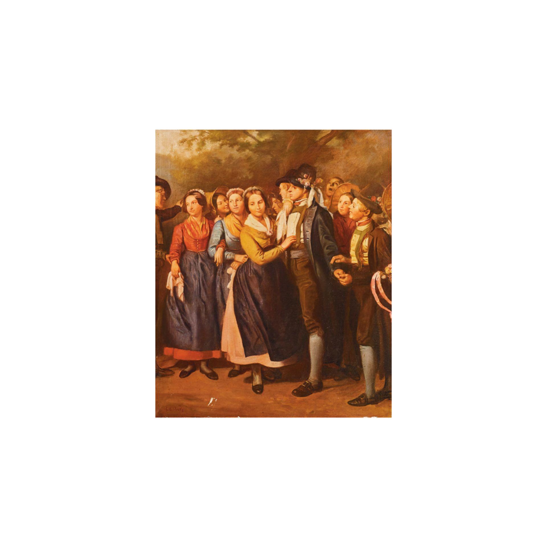 Los 16 - Escuela centroeuropea, s.XIX. Seguidor de Georg Emanuel Opiz. Personajes. Óleo sobre tela.