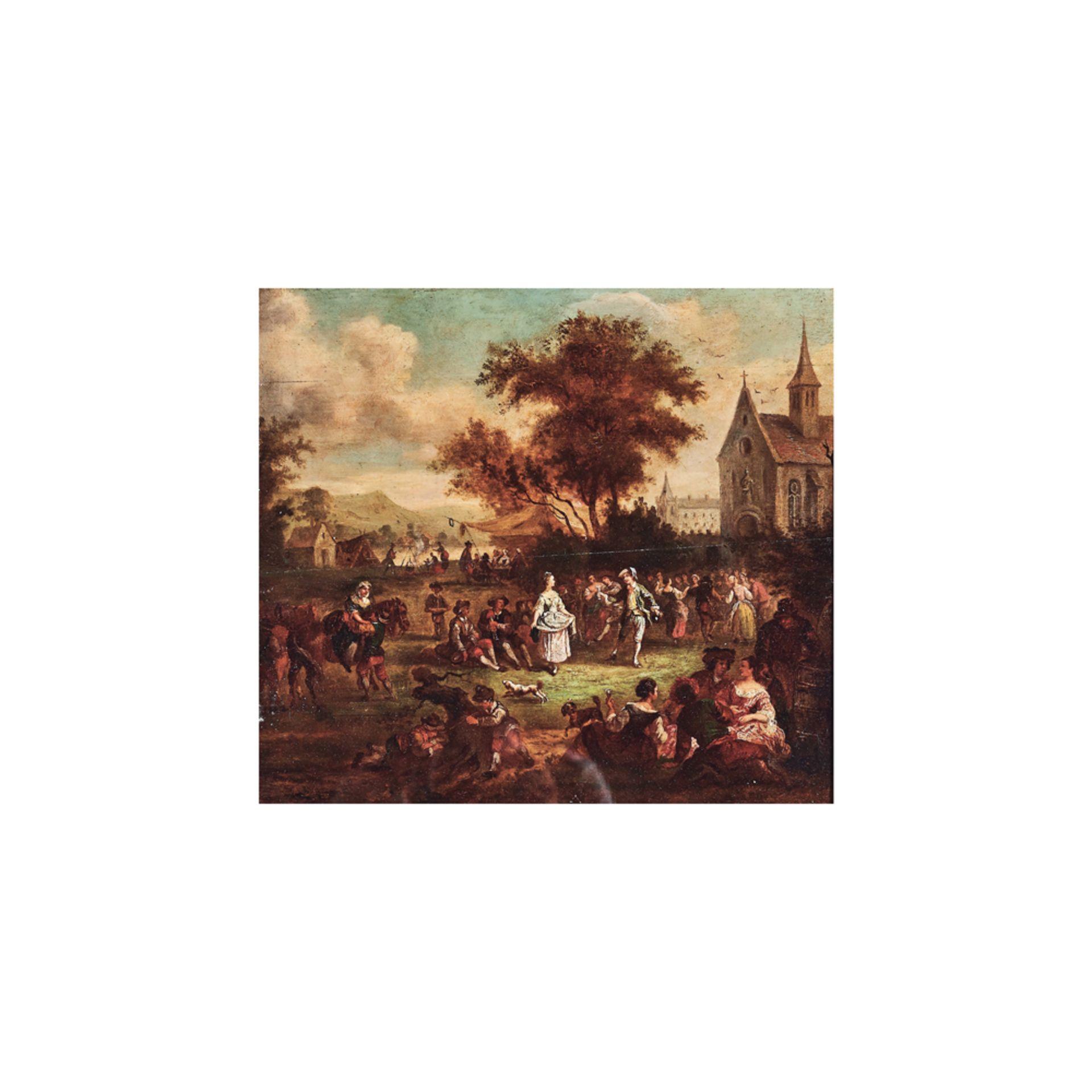 Los 25 - Escuela francesa, s.XVIII. Baile delante de la iglesia. Óleo sobre tabla.