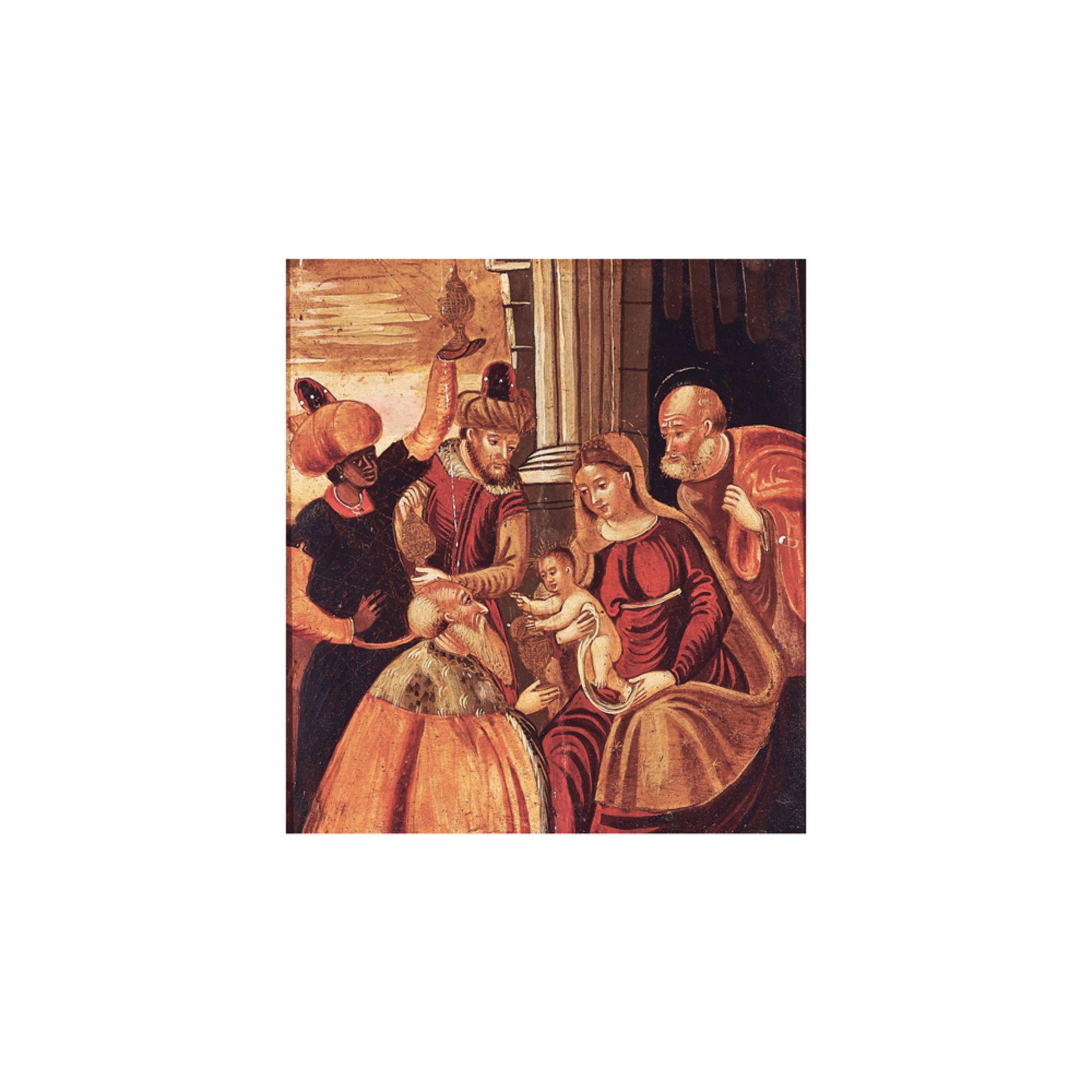 Los 19 - Escuela véneto-cretense, s.XIX. Adoración de los Reyes Magos. Óleo sobre tabla.