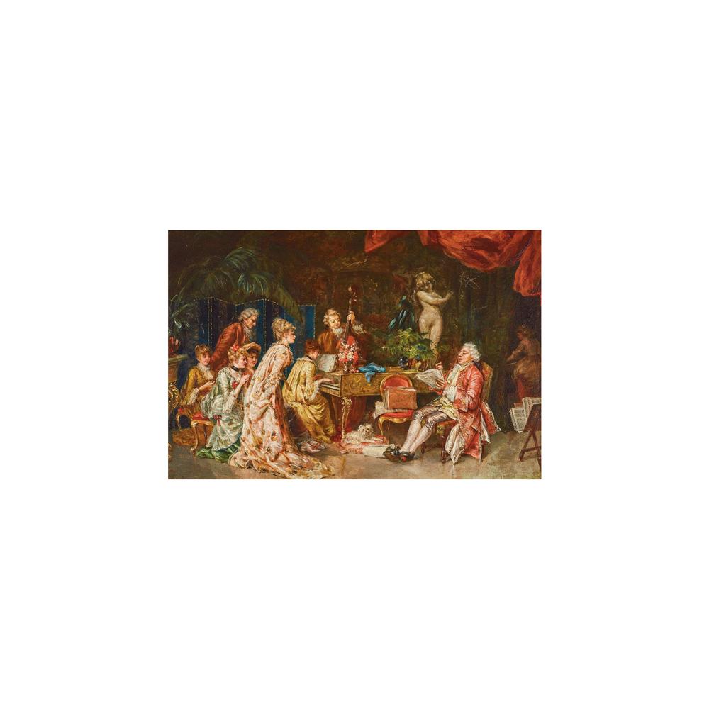 Lot 24 - Escuela española, s.XIX. Recital de música. Óleo sobre tabla.